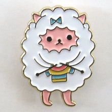 Load image into Gallery viewer, Undercover Knitting Kitty Enamel Pin -- Knitting Sheep Lapel Pin