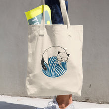 Load image into Gallery viewer, Large Tote / Project Bag in Bull Cotton Denim - Kitty on Blue Yarn