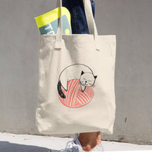 Load image into Gallery viewer, Large Tote / Project Bag in Bull Cotton Denim - Kitty on Coral Yarn