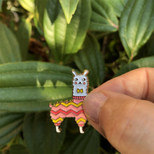 Load image into Gallery viewer, Llama wearing a hand-knit sweater is a perfect lapel enamel pin gift for knitters and crocheters.