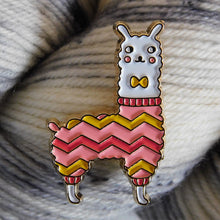 Load image into Gallery viewer, Llama wearing a hand-knit chevron sweater with a bow tie -- enamel lapel pin.