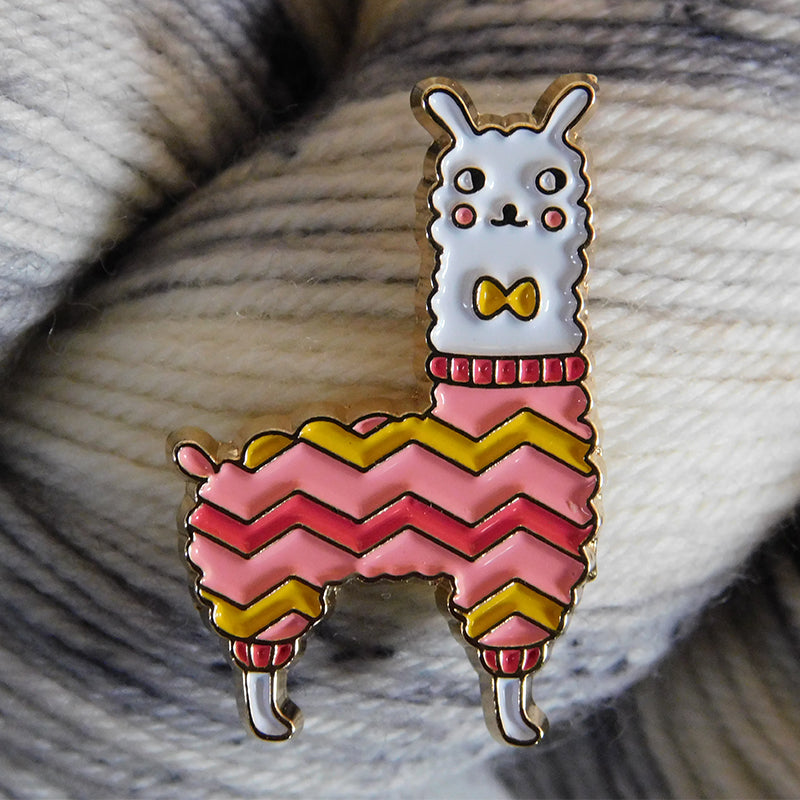 Llama Enamel Lapel Pin in Pink & Gold Chevron Sweater and Bow Tie