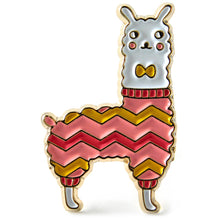 Load image into Gallery viewer, Llama Enamel Lapel Pin in Pink & Gold Chevron Sweater and Bow Tie