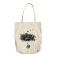 "Load image into Gallery viewer, Large Tote / Project Bag in Bull Cotton Denim - ""Knit Happens"""