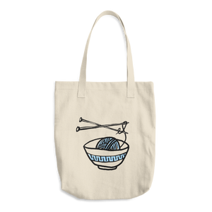 Large Tote / Project Bag in Bull Cotton Denim - Blue Yarn Noodle Bowl