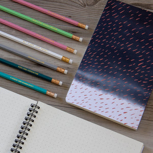 Notebook with Coral Rain on Indigo Clouds - plain, graph, or bullet dot grid paper