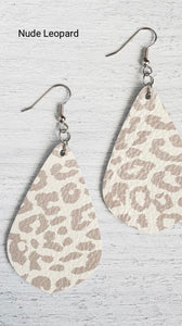 Earrings Pointed Teardrop Leather