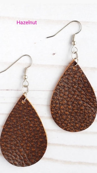 Earrings Mini Teardrop Leather