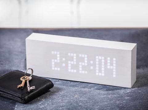 Gingko White Message Click Clock