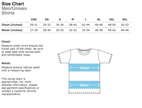 Sizing chart for unisex feminist apparel line