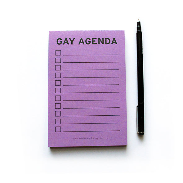 Gay Agenda Notepad by Word For Word Factory - Shrill Society