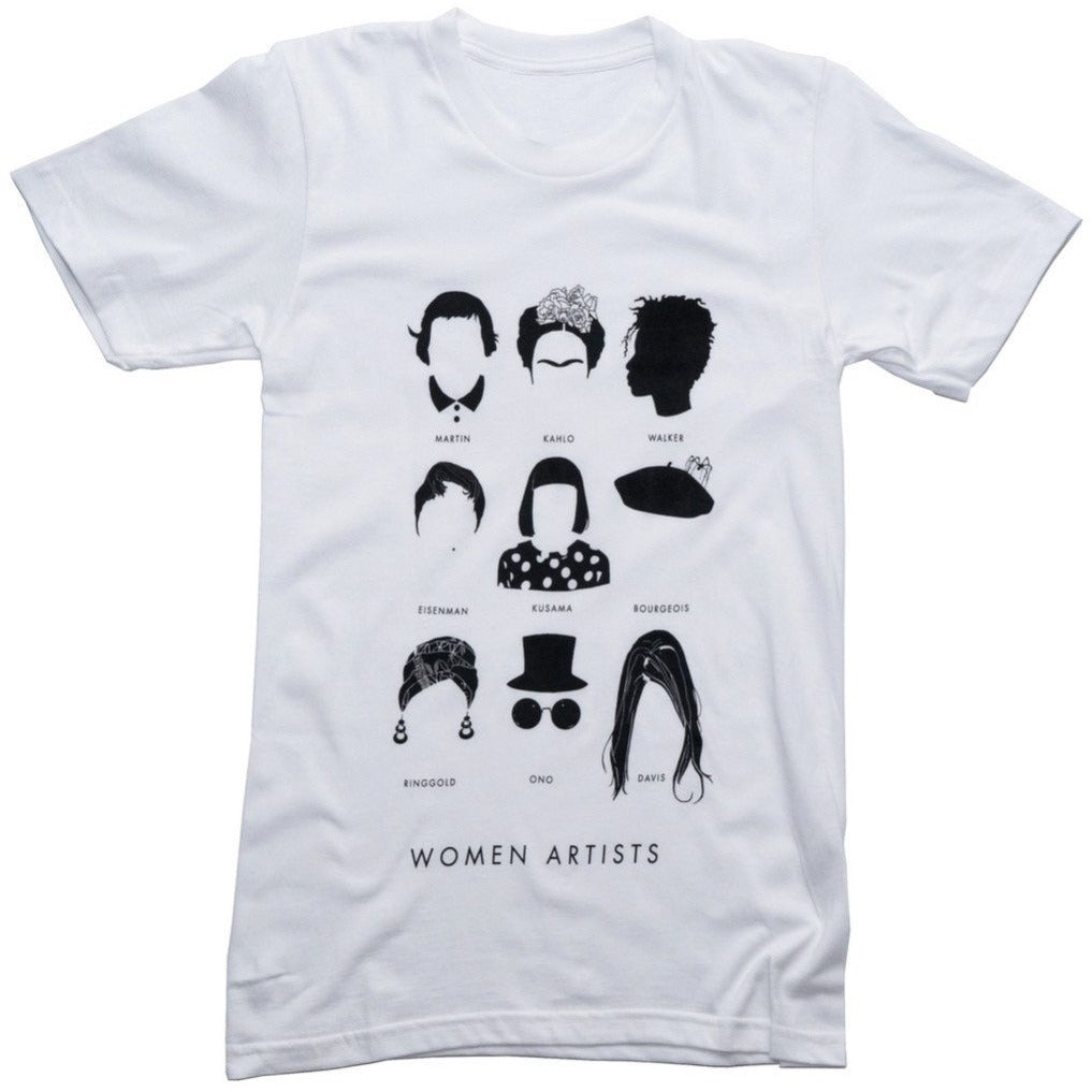 women artists tee t-shirt by stefanie boyd banks includes AGNES MARTIN FRIDA KAHLO KARA WALKER  NICOLE EISENMAN YAYOI KUSAMA LOUISE BOURGEOIS  FAITH RINGGOLD  YOKO ONO  VAGINAL DAVIS