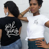 vanessa centeno and mariana sheppard in girl gang white and black tee t-shirt feminist clothing