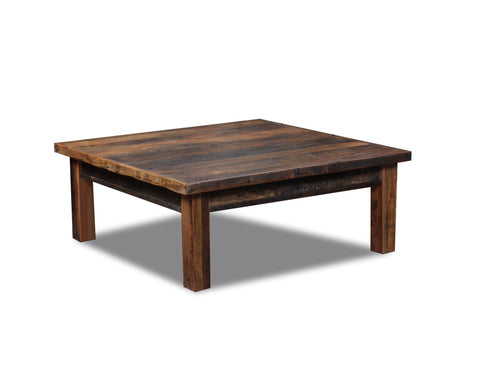 "Square Coffee table 48"" x 48"" manufactured in the USA with reclaimed wood by reclaimed wood designs"