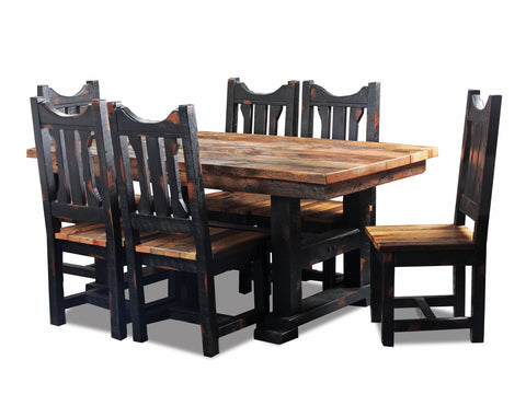 10' Dining Table w/ circle sawn trestle base manufactured in the USA with reclaimed wood by reclaimed wood designs