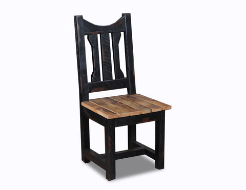 Circle sawn dining chair w/ granary seat manufactured in the USA with reclaimed wood by reclaimed wood designs