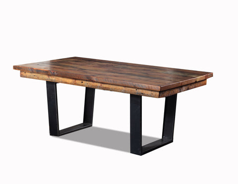 "108"" Dining table  w/ metal ""U style"" basemanufactured in the USA with reclaimed wood by reclaimed wood designs"