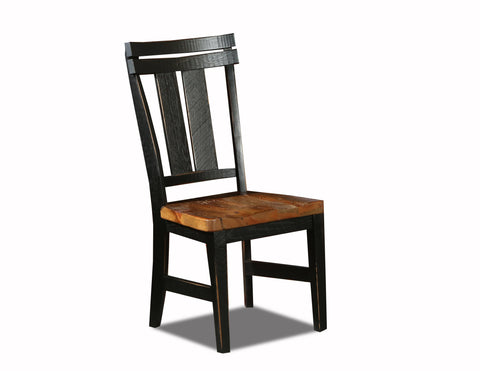 Farmhouse dining chair w/ granary seat manufactured in the USA with reclaimed wood by reclaimed wood designs