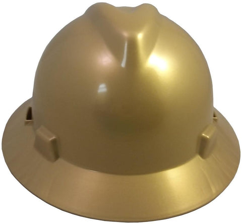 MSA V-Gard Full Brim Safety Hats with Fas-Trac Suspensions Gold, Head - Signsdirect247.com