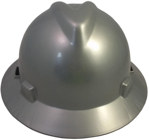 MSA V-Gard Full Brim Safety Hats with Fas-Trac Suspensions Silver, Head - Signsdirect247.com