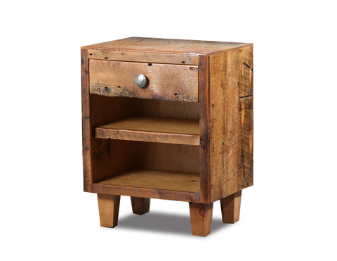 1 drawer nightstand  manufactured in the USA with reclaimed wood by reclaimed wood designs