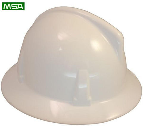 MSA Topgard Protective Full Brim Safety Hats with Fas-Trac Suspensions White, Head - Signsdirect247.com