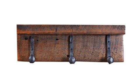 "22"" Granary coat shelf w/ 3 antique railroad spike hooks  manufactured in the USA with reclaimed wood by reclaimed wood designs"