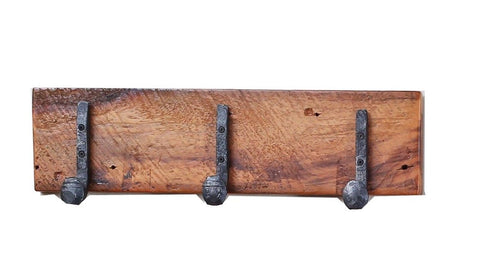 "22"" Granary coat rack w/ 3 antique railroad spike hooks manufactured in the USA with reclaimed wood by reclaimed wood designs"