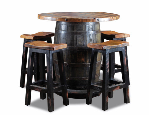 "30"" saddle stool two tone w/ granary seat manufactured in the USA with reclaimed wood by reclaimed wood designs"