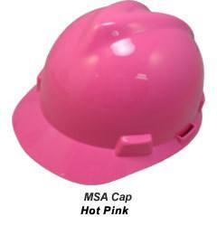 MSA V-Gard Cap Style Safety Hats with Staz-On Suspensions Hot Pink, Head - Signsdirect247.com