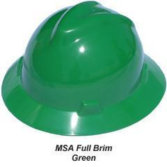 MSA V-Gard Full Brim Safety Hats with Fas-Trac Suspensions Green, Head - Signsdirect247.com