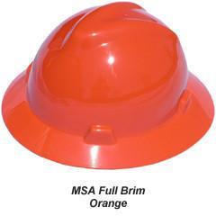 MSA V-Gard Full Brim Safety Hats with Fas-Trac Suspensions Orange, Head - Signsdirect247.com