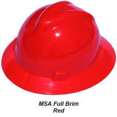 MSA V-Gard Full Brim Safety Hats with Fas-Trac Suspensions Red, Head - Signsdirect247.com