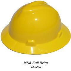 MSA V-Gard Full Brim Safety Hats with Fas-Trac Suspensions Yellow, Head - Signsdirect247.com