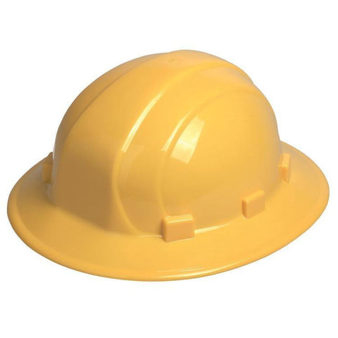 Head Protection Omega II Full Brim Mega Ratchet Yellow, Head Protection - Signsdirect247.com