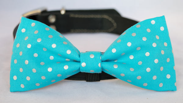 Blue & Silver Polka Dots Dog Bow Tie