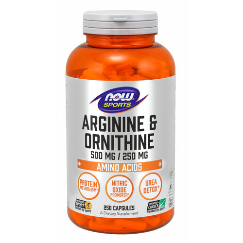 Shop NOW Foods Arginine & Ornithine 500/250mg, 250 Capsule (RH) online  l-arginine-nutritional-supplements