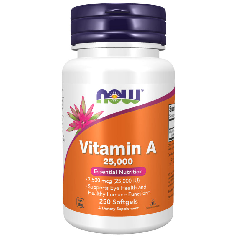 Shop NOW Foods Supplements, Vitamin A (25,000 IU), 250 Softgel (Pack of 1) (MB) online  vitamin-a