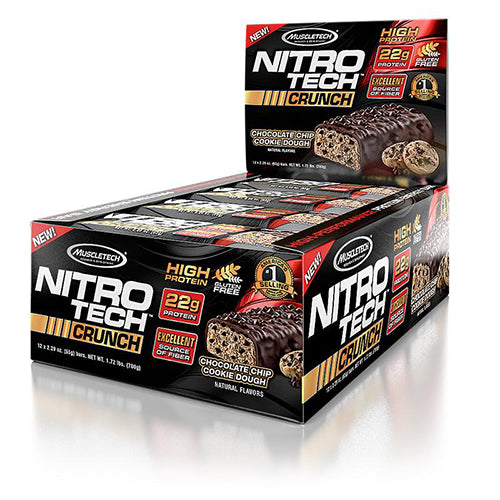 Shop MuscleTech Nitro Tech Crunch, Chocolate Chip Cookie Dough, 12 Count online  sports-nutrition-protein-bars