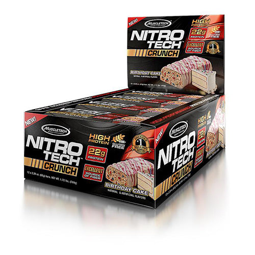 Shop MuscleTech Nitro-Tech Crunch, Birthday Cake, 12 Count online  sports-nutrition-protein-bars