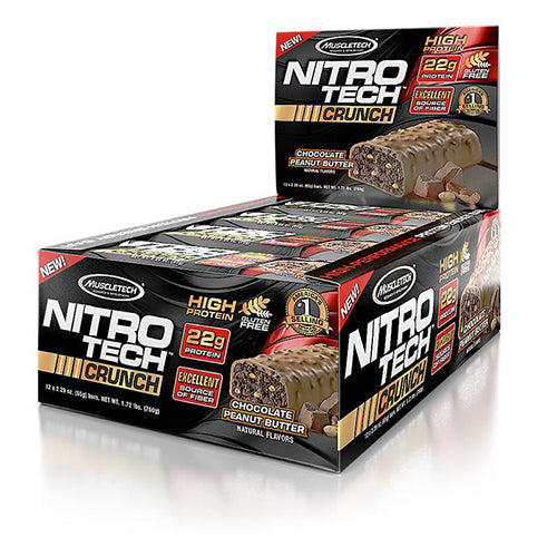 Shop MuscleTech Nitro Tech Crunch, Chocolate Peanut Butter, 12 Count online  sports-nutrition-protein-bars