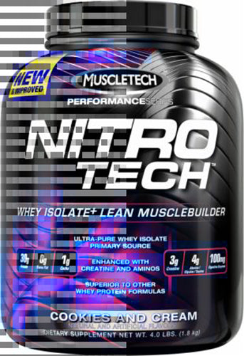 Shop MuscleTech Performance Series Nitro-Tech, Cookies and Cream, 4 Pound online  sports-nutrition-whey-protein-powders