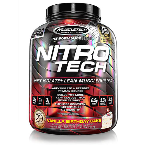 Shop MuscleTech Performance Series Nitro-Tech, Vanilla Birthday Cake, 3.97 Pound online  sports-nutrition-whey-protein-powders