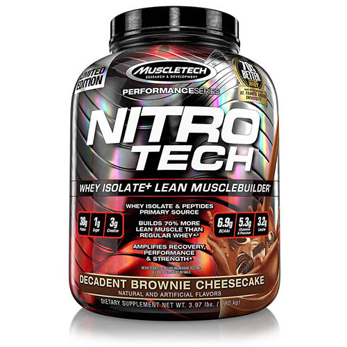 Shop MuscleTech Performance Series Nitro-Tech, Decadent Brownie Cheesecake, 3.97 Pound online  sports-nutrition-whey-protein-powders