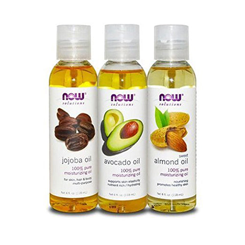 Shop Now Foods Variety Moisturizing Oils Sampler: Sweet Almond, Avocado, and Jojoba Oils - 4oz. Bottles each (MB) online  body-oils