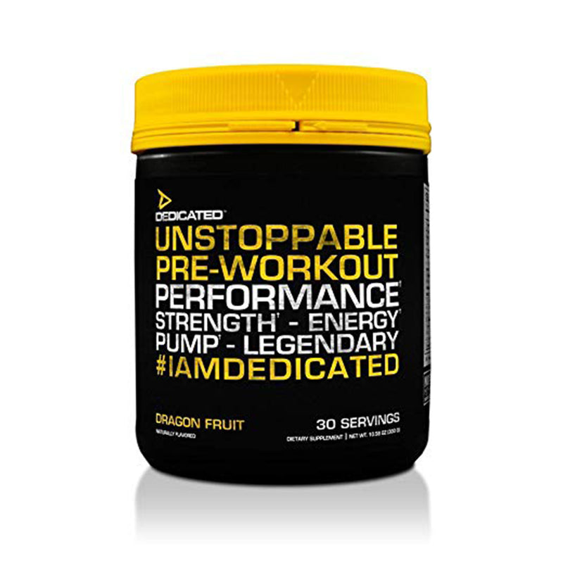 Shop DEDICATED Unstoppable, 30 Serving, Dragon Fruit online  sports-nutrition-pre-workout