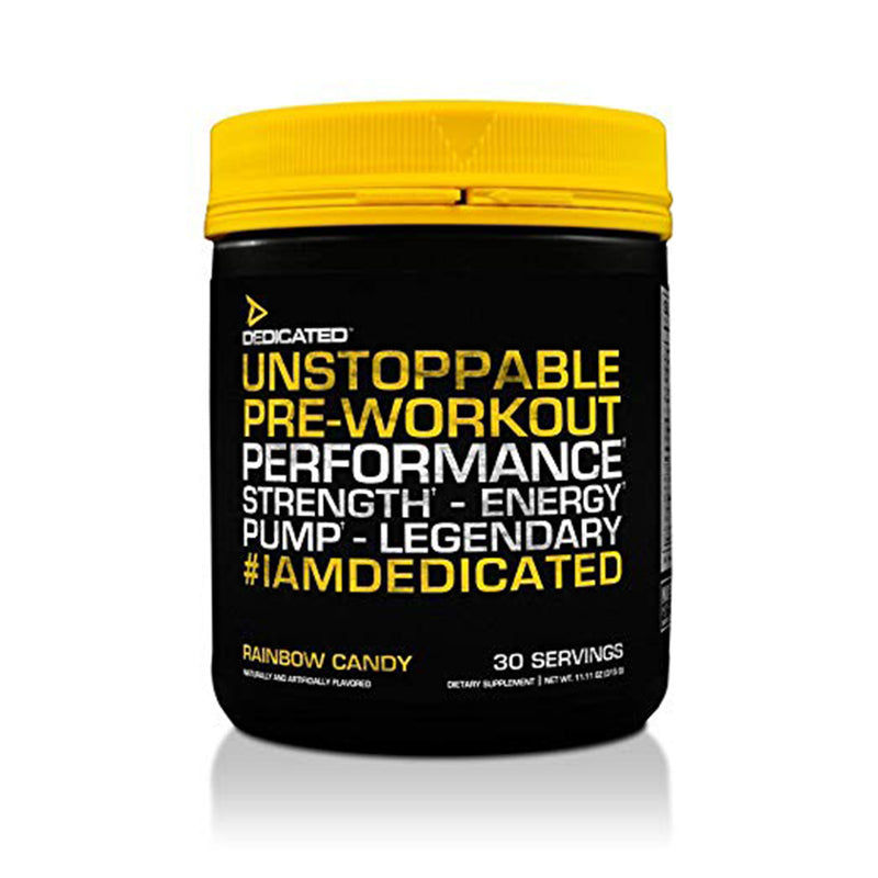 Shop DEDICATED Unstoppable, 30 Serving, Rainbow Candy online  sports-nutrition-pre-workout
