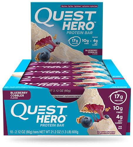 Shop Quest Nutrition Hero Bar, Blueberry Cobbler, 10 Count online  sports-nutrition-protein-bars
