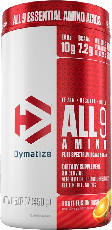 Shop Dymatize All9 Amino, Fruit Fusion Rush, 30 Serving online  branched-chain-amino-acids-nutritional-supplements