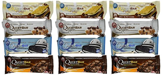 Shop Quest Nutrition Quest Bar, Chocolate Chip Cookie Dough, Smores, Cookies And Cream, Chocolate Brownie, 12 Count online  sports-nutrition-protein-bars